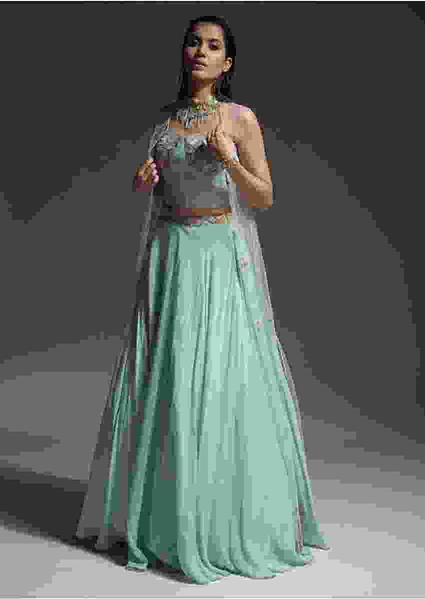 Mint Skirt, Corset And Jacket With Sequins And Cut Dana Embellished Summertime Blossoms Online - Kalki Fashion