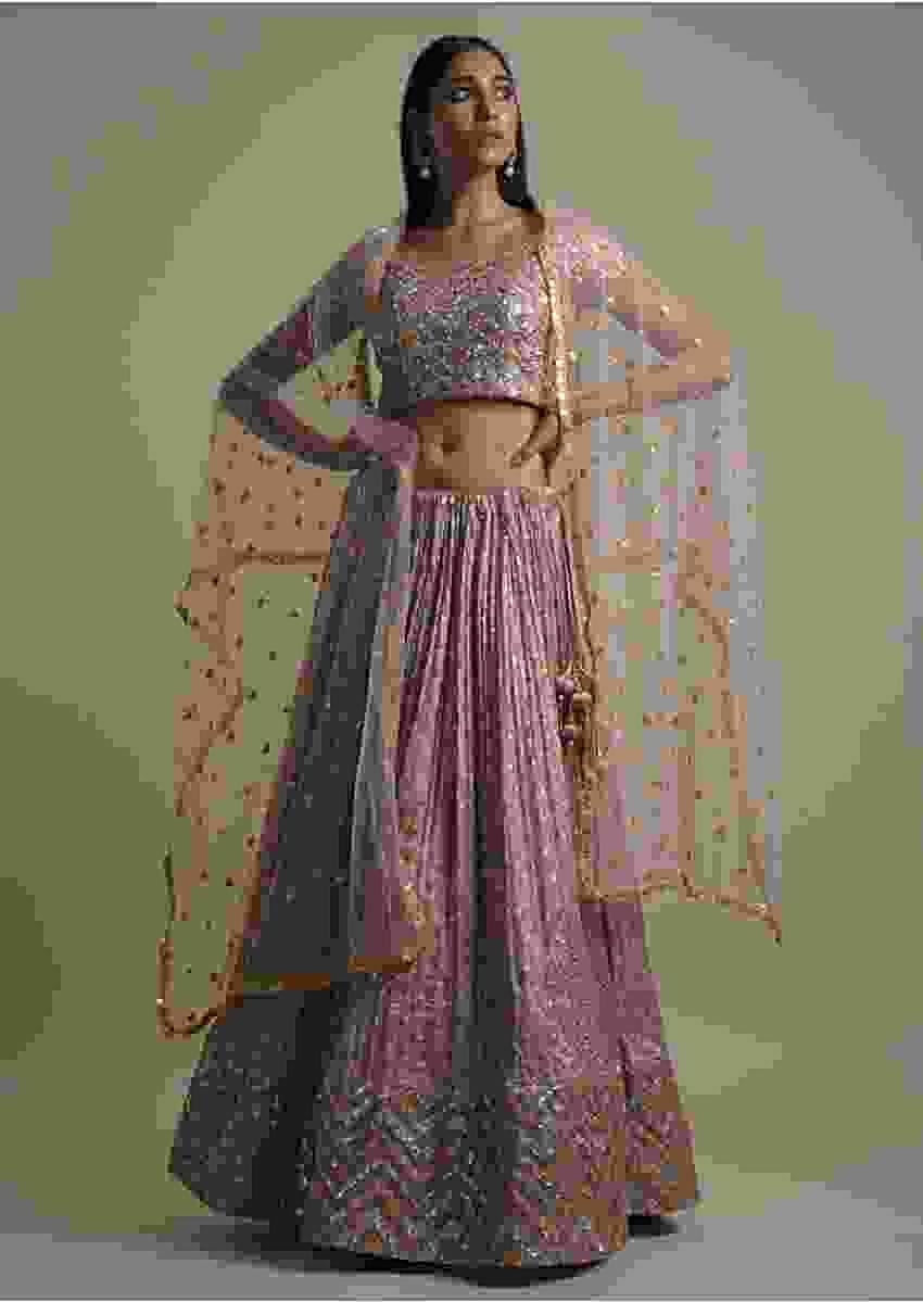 Mohair Beige Lehenga Choli With Embroidered Checks And Chevron Pattern Online - Kalki Fashion