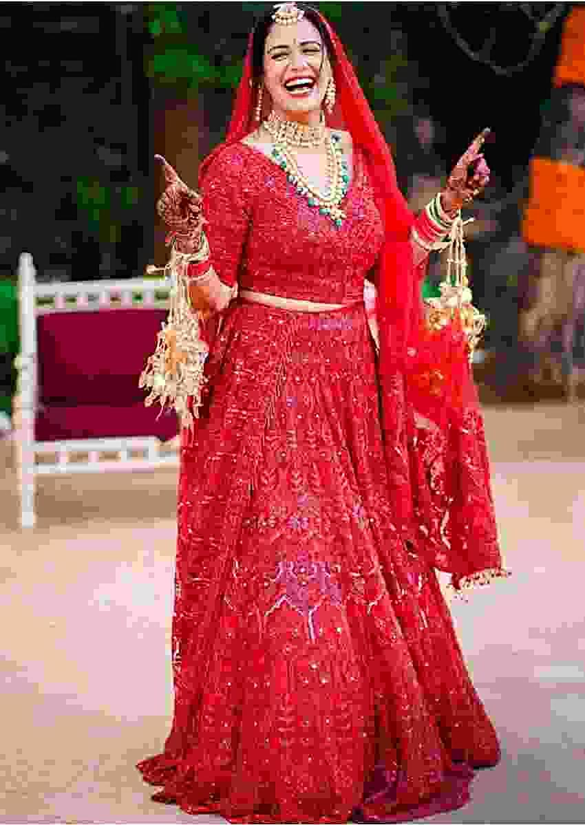 Mona Singh In Kalki Ruby Red Lehenga Choli With Temple Embroidery