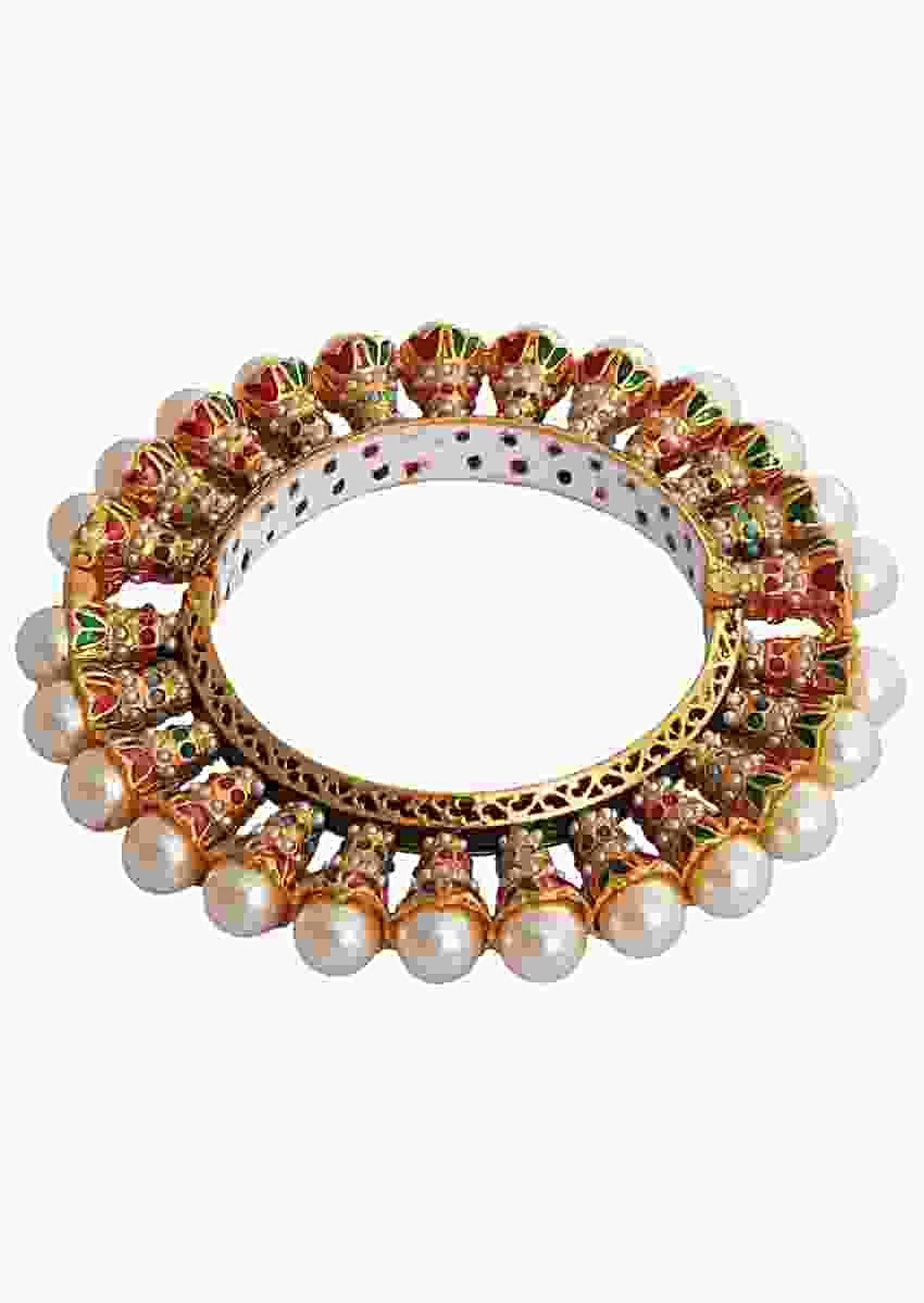 Multi Color Gold Plated Bangle Studded With Stones And Pearls Online - Kalki Fashion