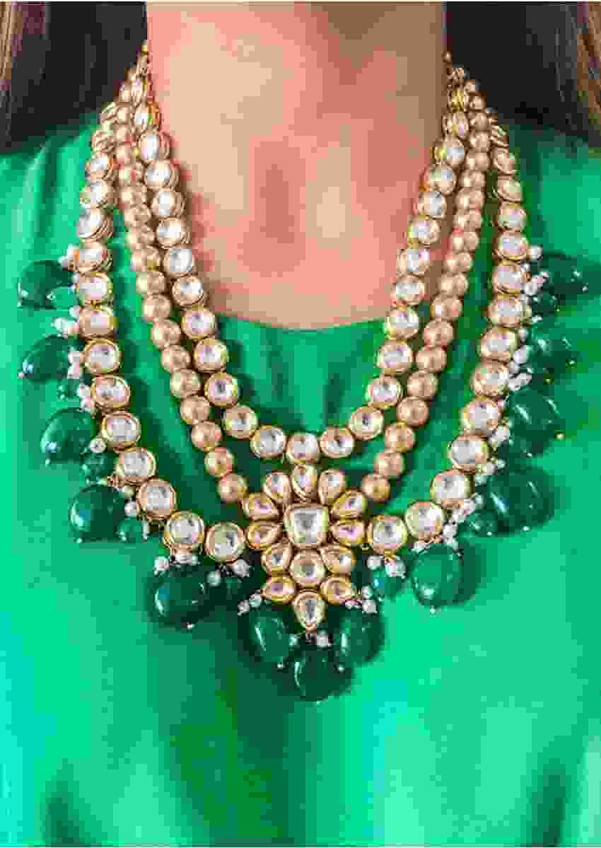 Multi Color Layered Necklace Adorned With Dangling Green Beads, Kundan And Pearls By Prerto