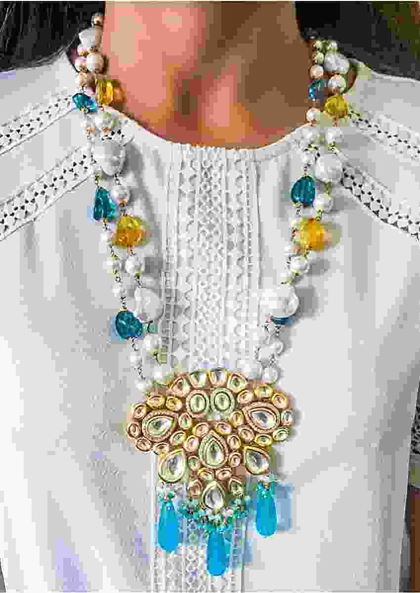 Multi Color Necklace With Lustrous Pearls, Fresh Hued Beads And A Stunning Kundan Centrepiece By Prerto