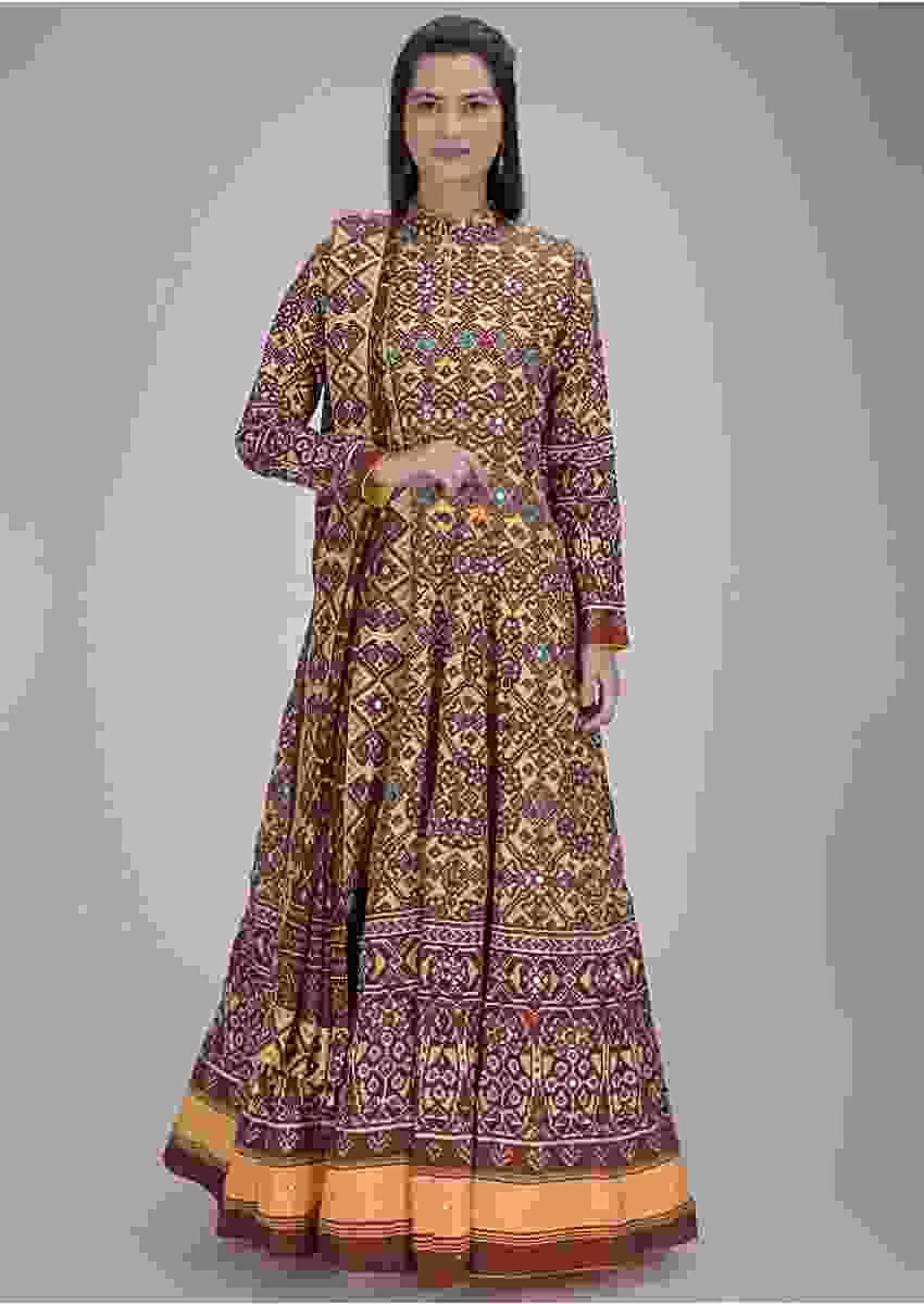 Multi color cotton anarkali dress in patola print