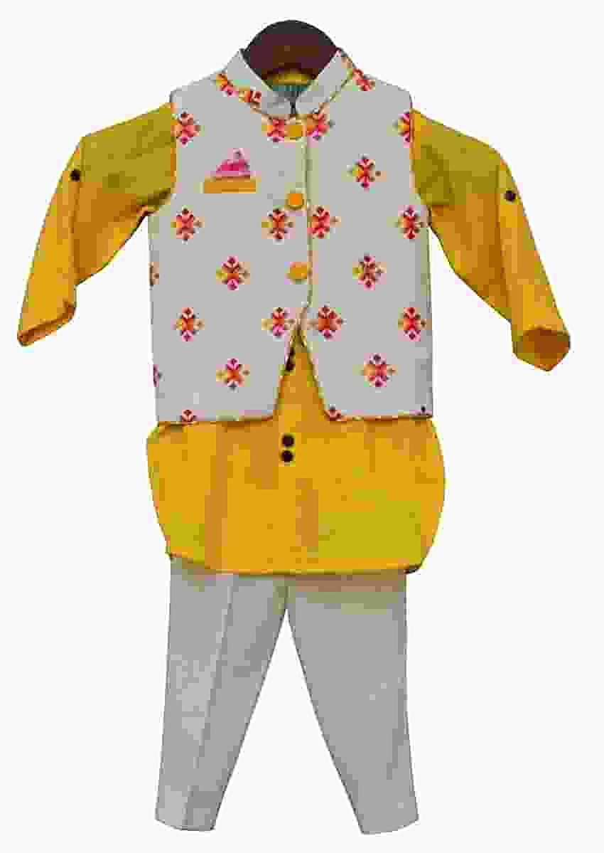 Multi Colour Bootie Nehru Jacket with Yellow Kurta , Pant by Fayon Kids