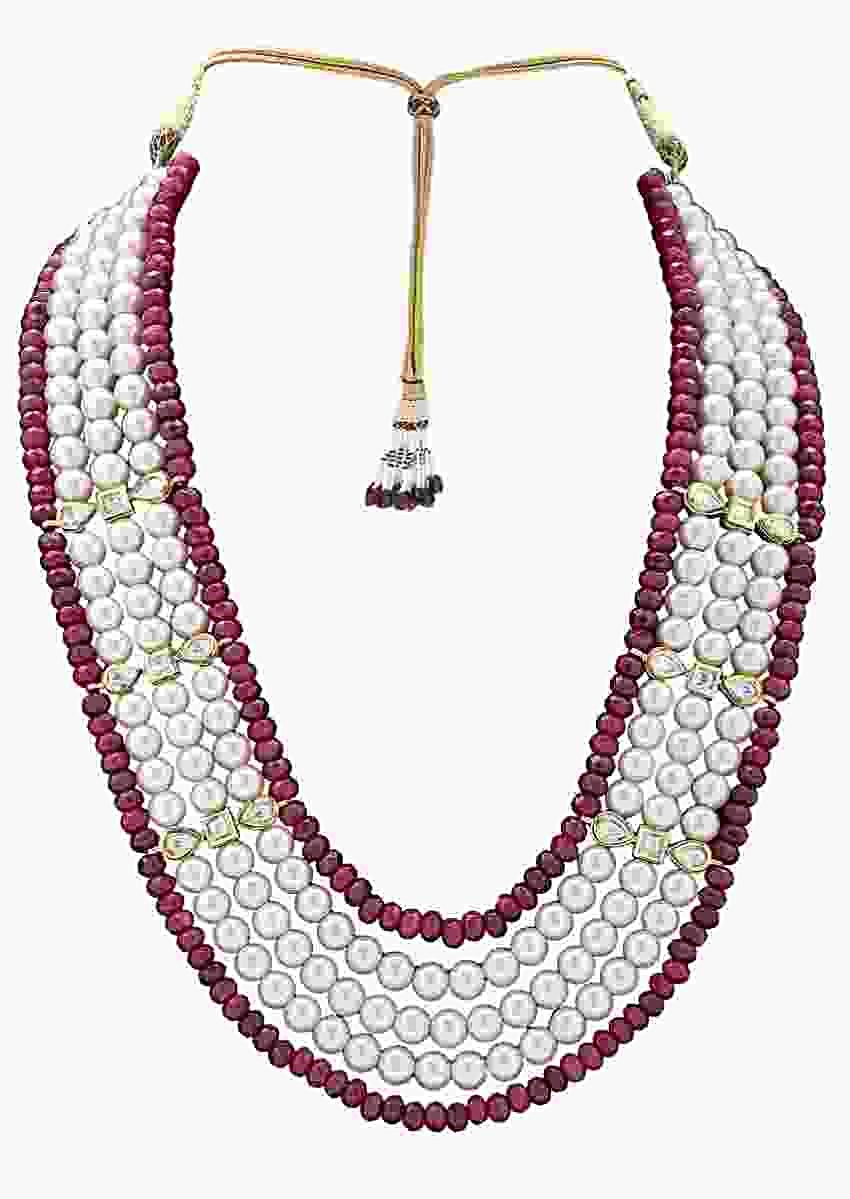 Multi Layered Classic Necklace Made With White Pearls And Red Agate Beads Online - Joules By Radhika