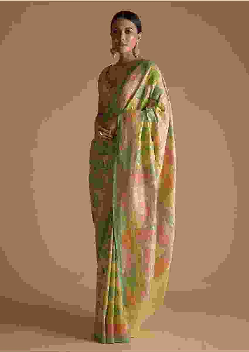 Multi Shades Of Green Toned Khadi Georgette Saree Adorn With  With Weaved Jaal Embroidery Online - Kalki Fashion