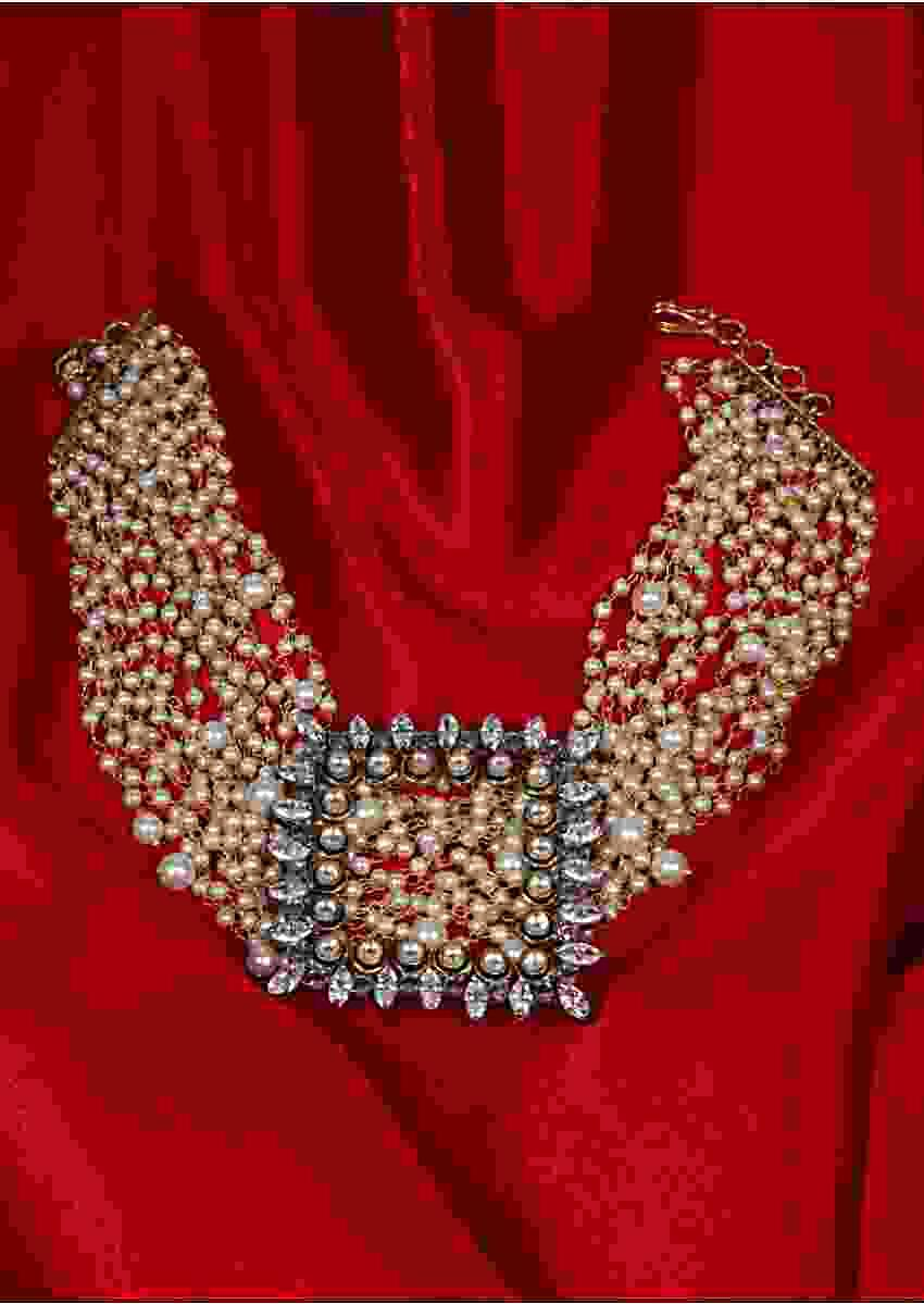 Multi string pearl studded chocker with square pendant adorn with kundan and Stone only on Kalki