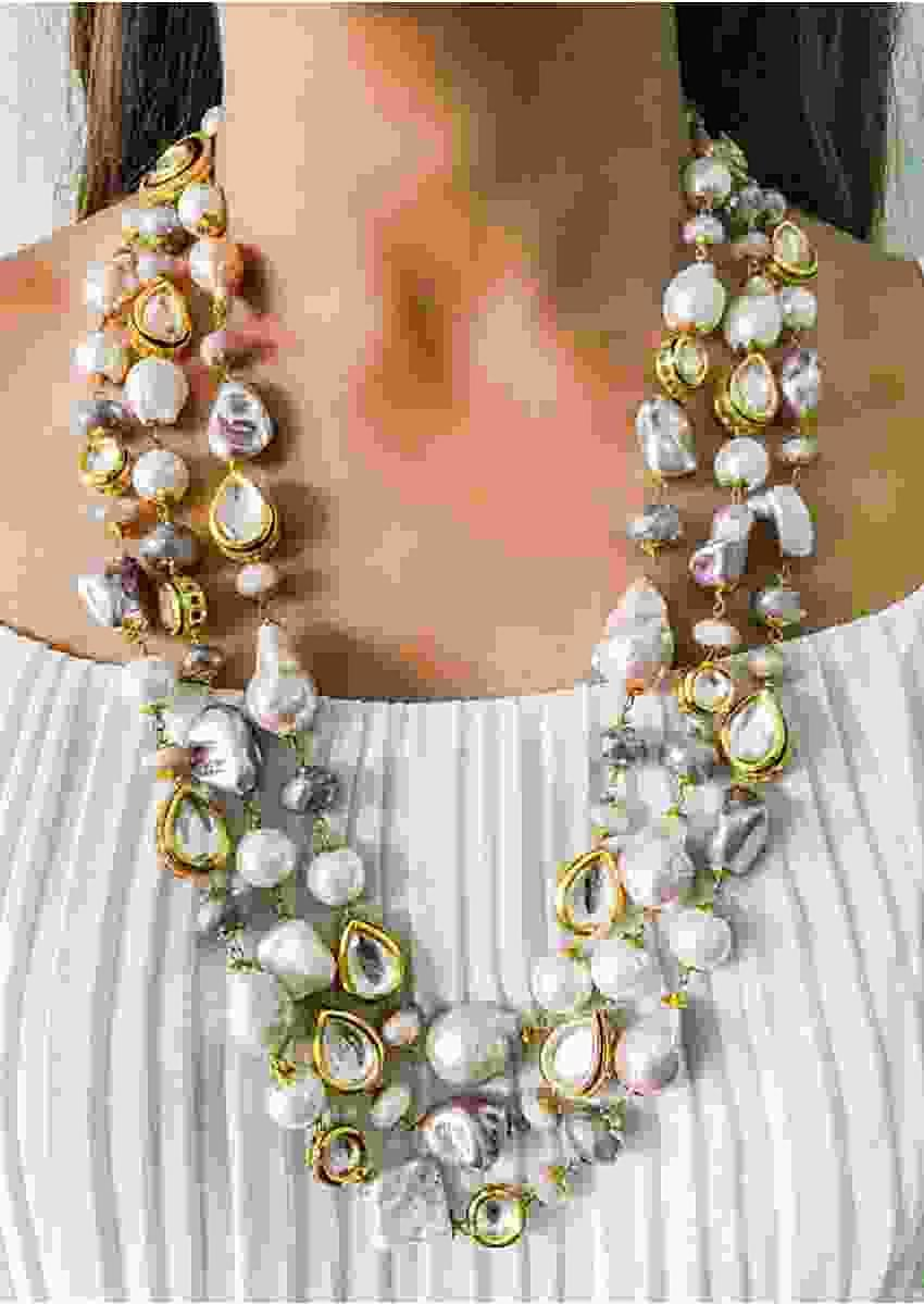 Multicolour Layered Necklace Handmade With Pastel Tone Pearls And Kundan Set With Delicate Crystals By Prerto