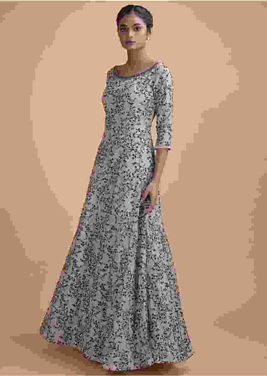 Mushroom Grey Anarkali Gown Georgette With Resham Embroidery In Floral Jaal Online - Kalki Fashion