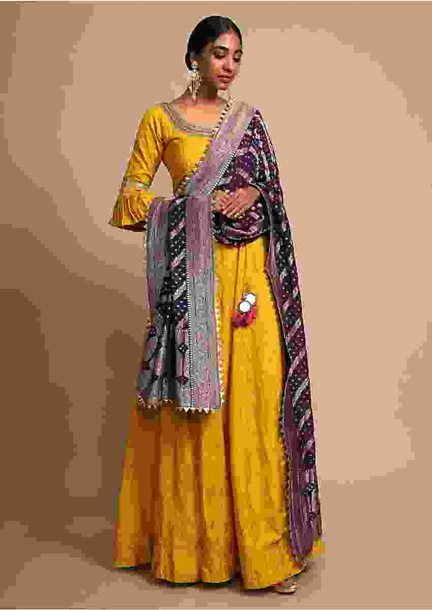 Mustard Anarkali Suit In Cotton Silk With Ruffle Sleeves And Navy Blue Bandhani Dupatta Online - Kalki Fashion