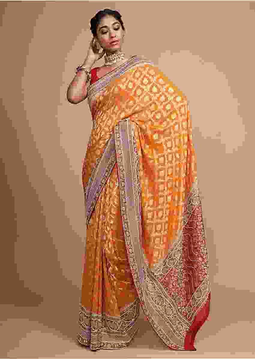 Mustard Banarasi Saree With Weaved Moroccan Jaal And Moti Work On The Border Online - Kalki Fashion