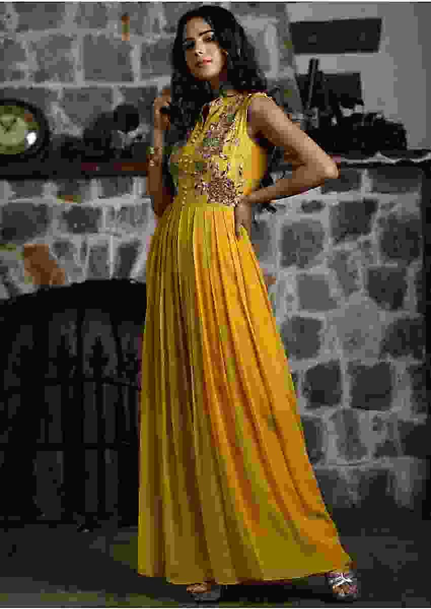 Mustard crepe jump suit with embroidered bodice
