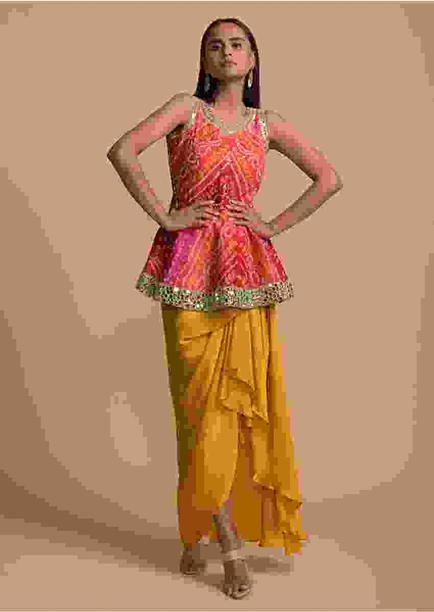 Mustard Draped Skirt And Bandhani Printed Peplum Top With Mirror Work Online - Kalki Fashion