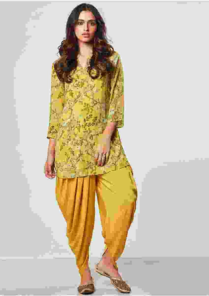 Mustard floral printed top with matching dhoti pant