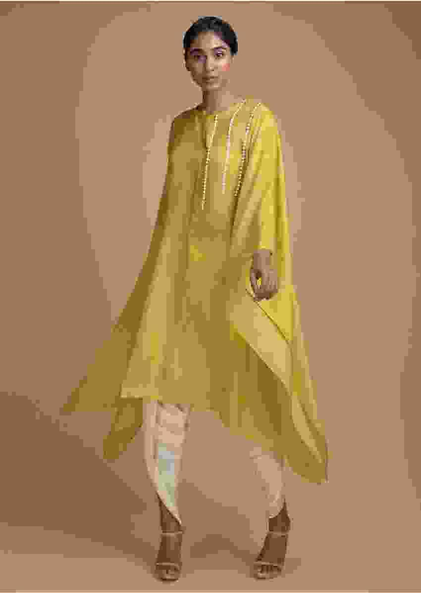 Mustard Kaftan Dhoti Suit Embellished In Stripe Pattern On The Bodice Online - Kalki Fashion