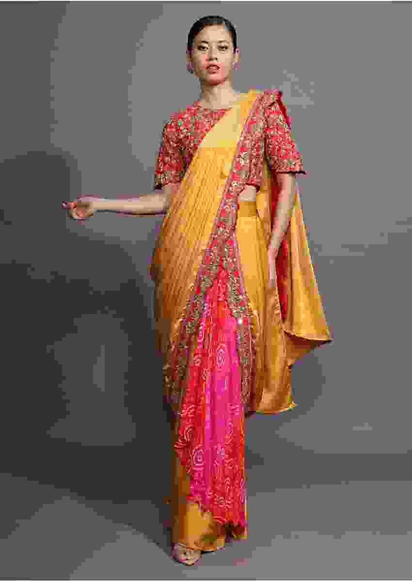 Mustard Ready Pleated Saree With Bandhani Printed Layer And Red Scalloped Border With Zari Accents Online - Kalki Fashion