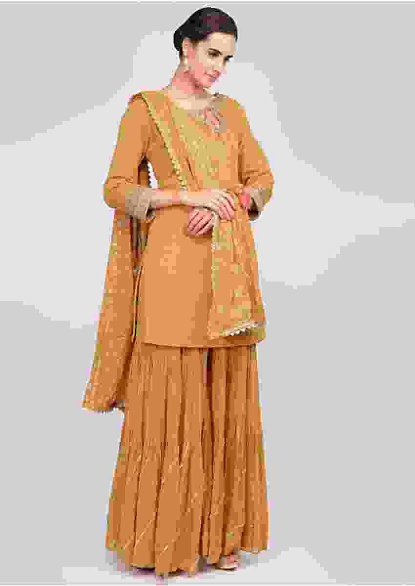 Mustard Sharara Suit Set With Matching Jaal Embroidered Dupatta Online - Kalki Fashion