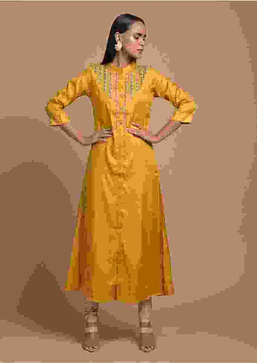 Mustard Tunic In Silk With Cut Dana And Zardosi Embroidered Leaf Design On The Yoke Online - Kalki Fashion