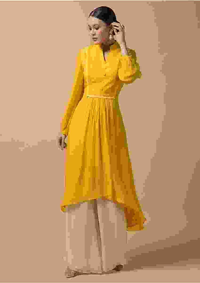 Mustard Yellow A Line Palazzo Suit With High Low Hemline And Lace On The Bodice Online - Kalki Fashion