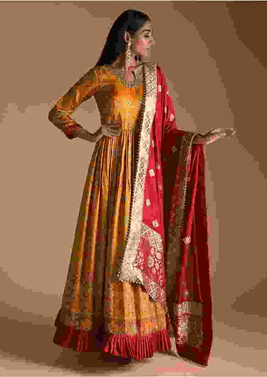 Mustard Yellow Anarkali Suit In Cotton Silk With Patola And Bandhani Printed Jaal And Maroon Banarasi Dupatta Online - Kalki Fashion
