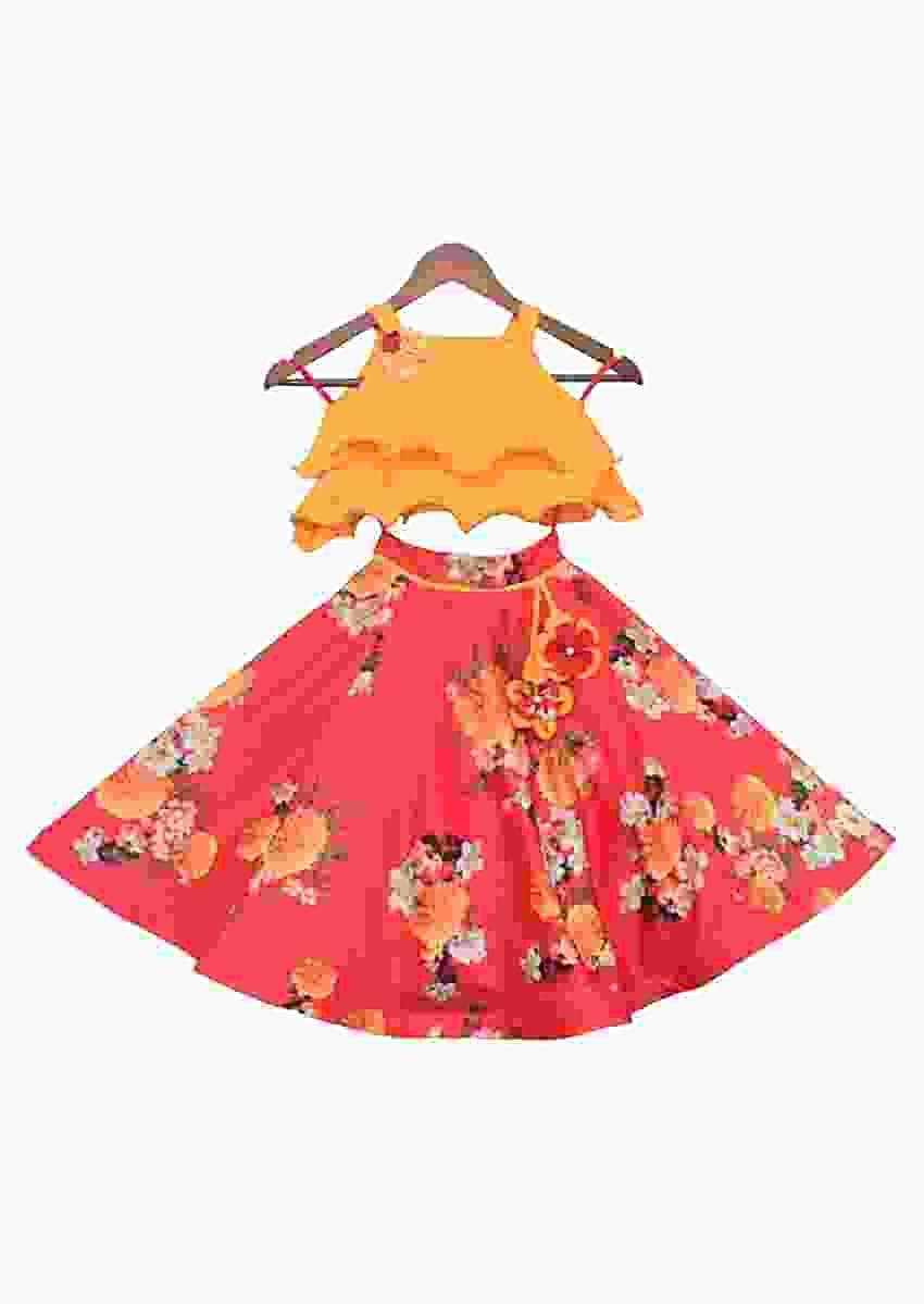 Mustard Yellow Choli With Red Printed Lehenga by Fayon Kids
