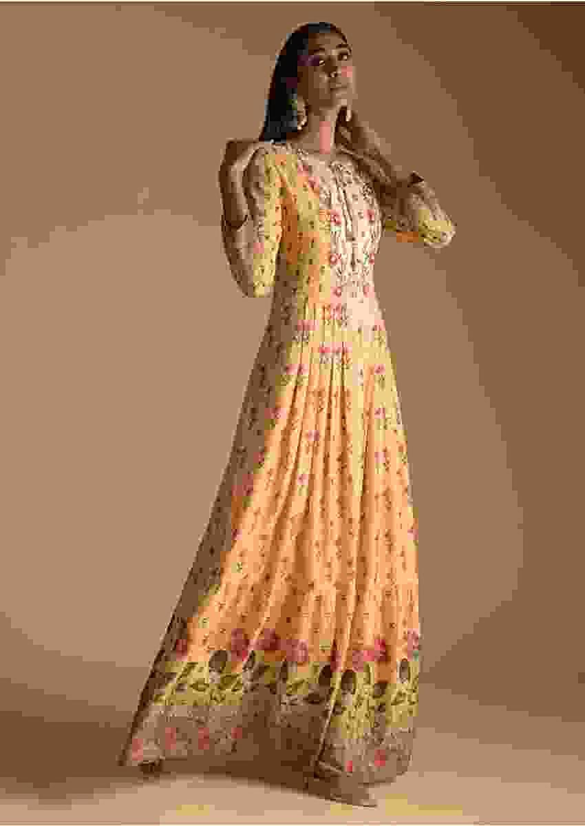 Mustard Yellow Cotton Silk Tunic With Embroidery On The Bodice And Floral Print Online - Kalki Fashion