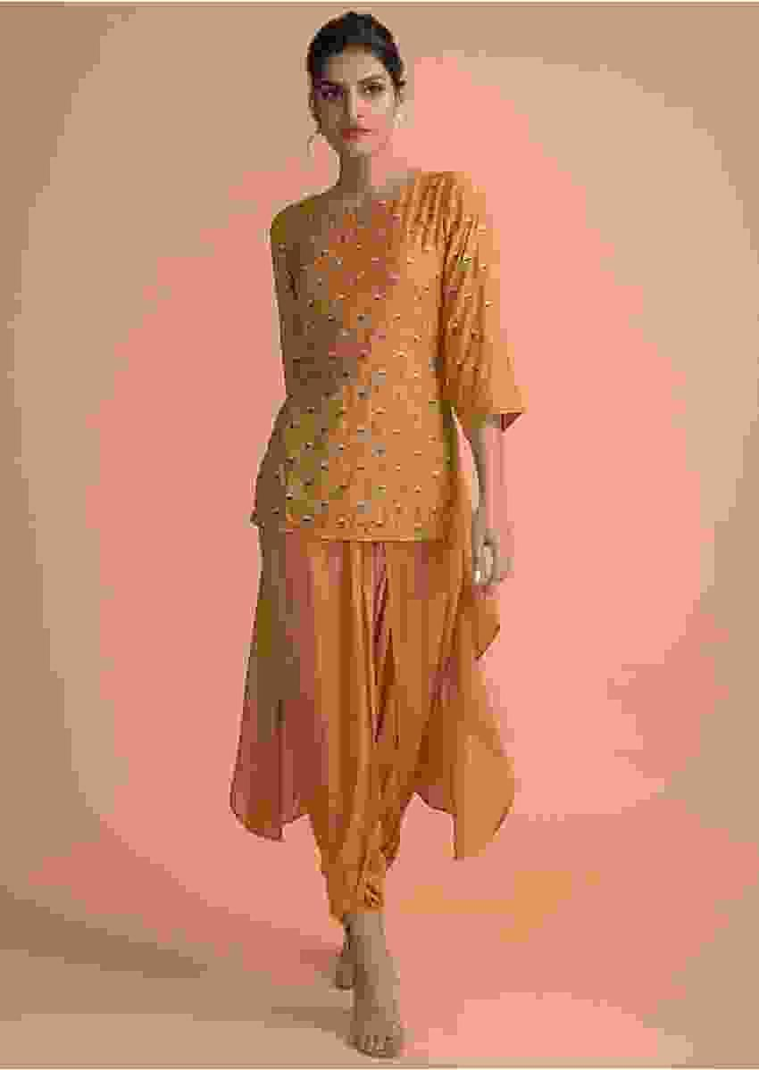 Mustard Yellow Kurta With High Low Hemline And Dhoti Pants Online - Kalki Fashion