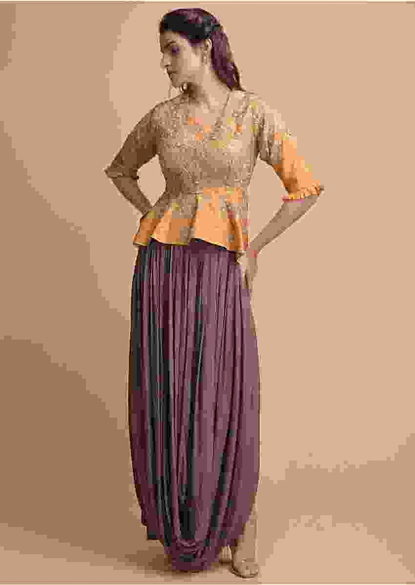 Mustard Yellow Peplum Top With High Low Waist And A Cedar Brown Cowl Drape Skirt Online - Kalki Fashion