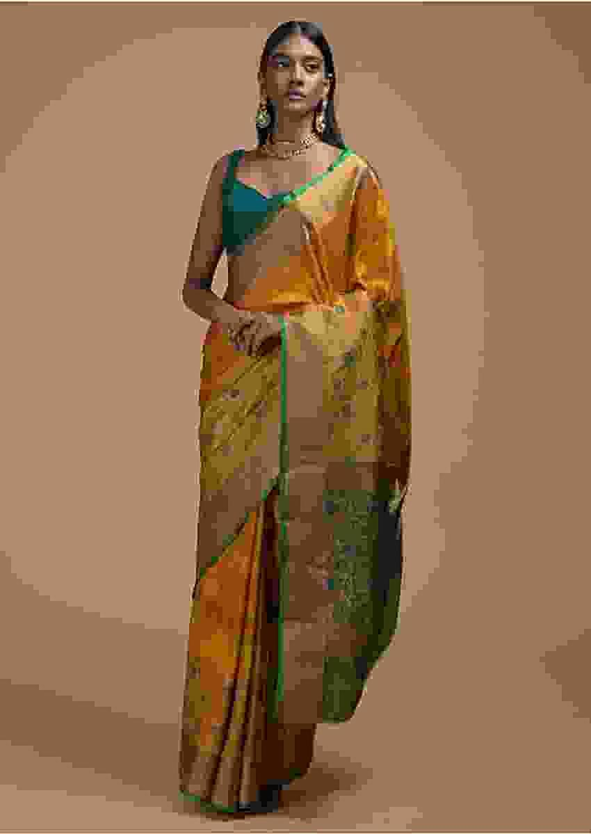 Mustard Yellow Pure Handloom Saree In Tussar Silk With Stripes And Woven Floral Border Online - Kalki Fashion