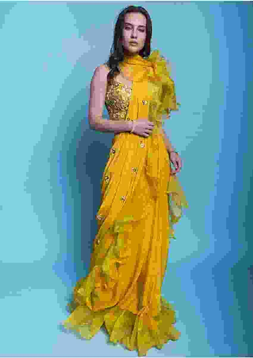 Mustard yellow ready pleated draped saree with ruffled organza draped pallo and hem Online - Kalki Fashion