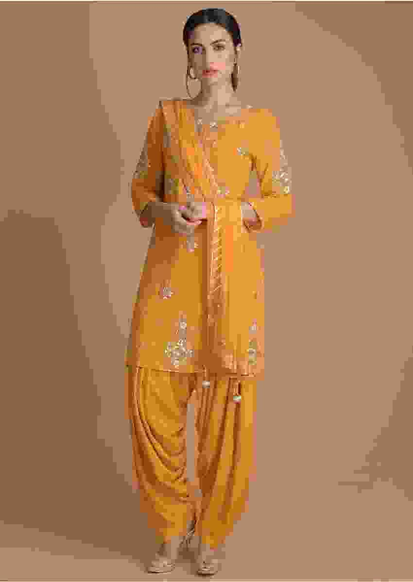 Mustard Yellow Salwar Suit With Gotta, Zardosi, Thread And Pearls In Floral Pattern Online - Kalki Fashion