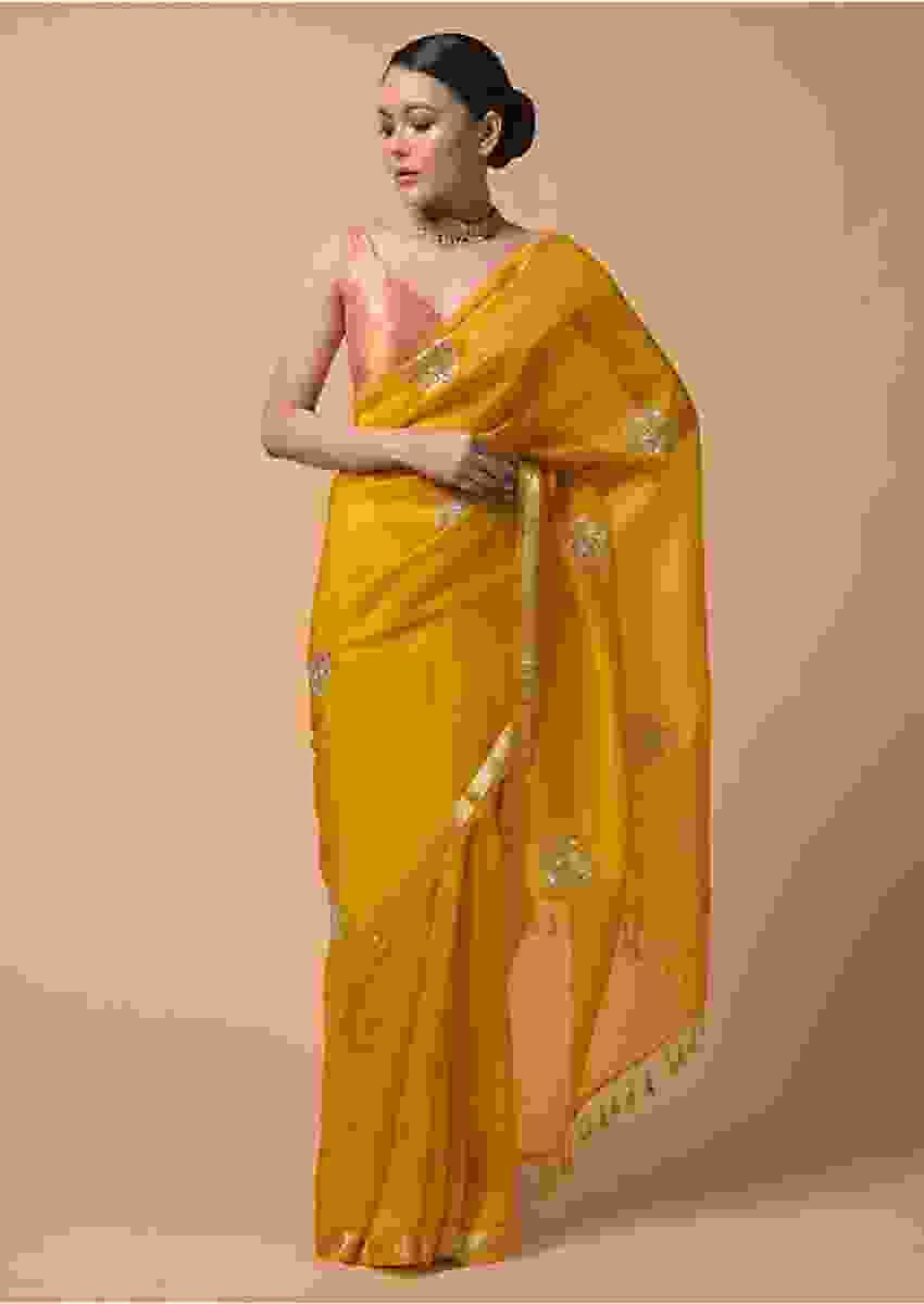 Mustard Yellow Saree In Organza With Gotta Patti And Zardosi Embroidered Buttis Online - Kalki Fashion