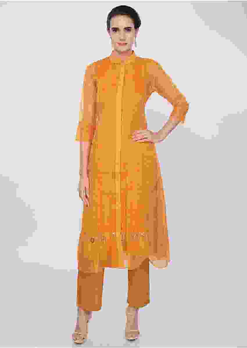 Mustard Yellow Three Piece Suit Designed With Pleats Online - Kalki Fashion
