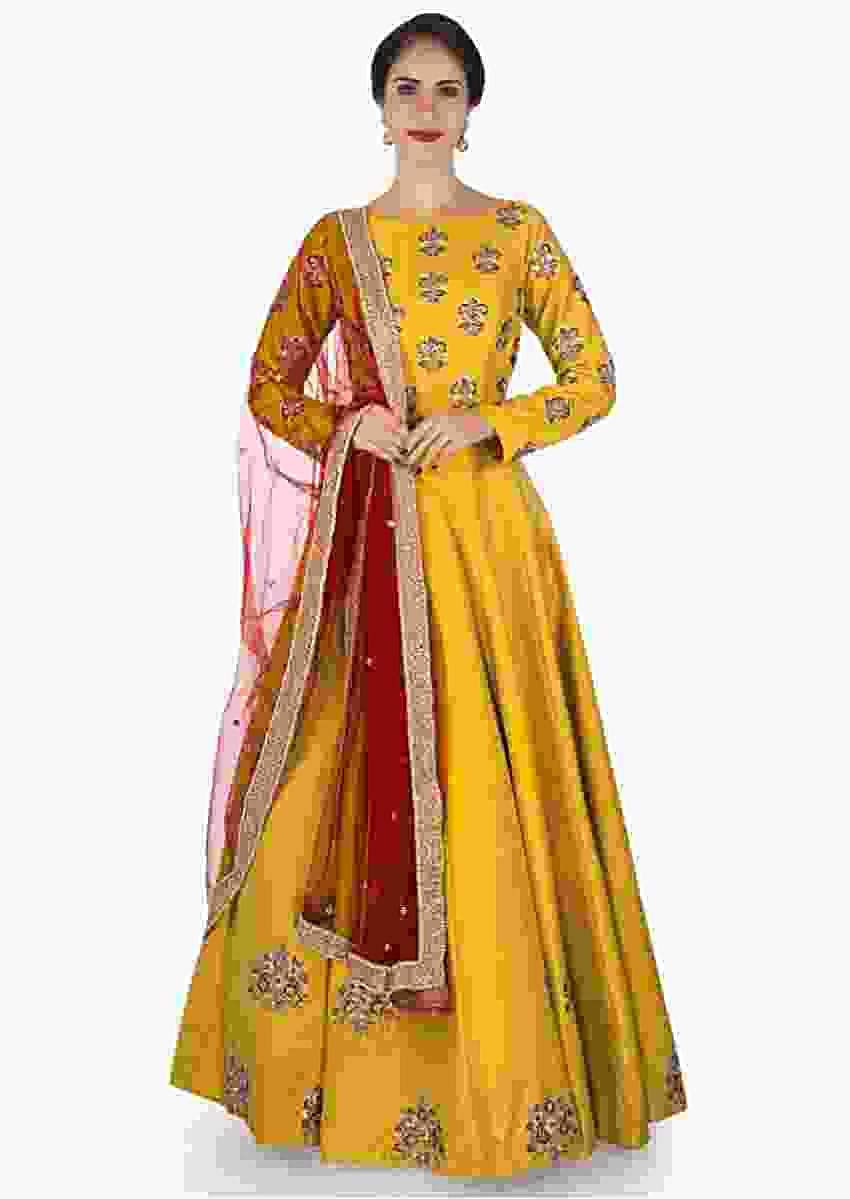 Charlie Chauhan In Kalki Mustard Anarkali Suit In Raw Silk Beautified In Resham And Zari Online - Kalki Fashion