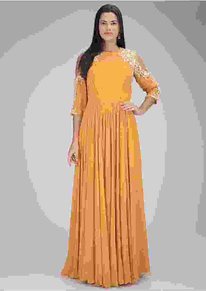 Mustard Yellow Gown In Georgette With Cold Shoulder Details Online - Kalki Fashion