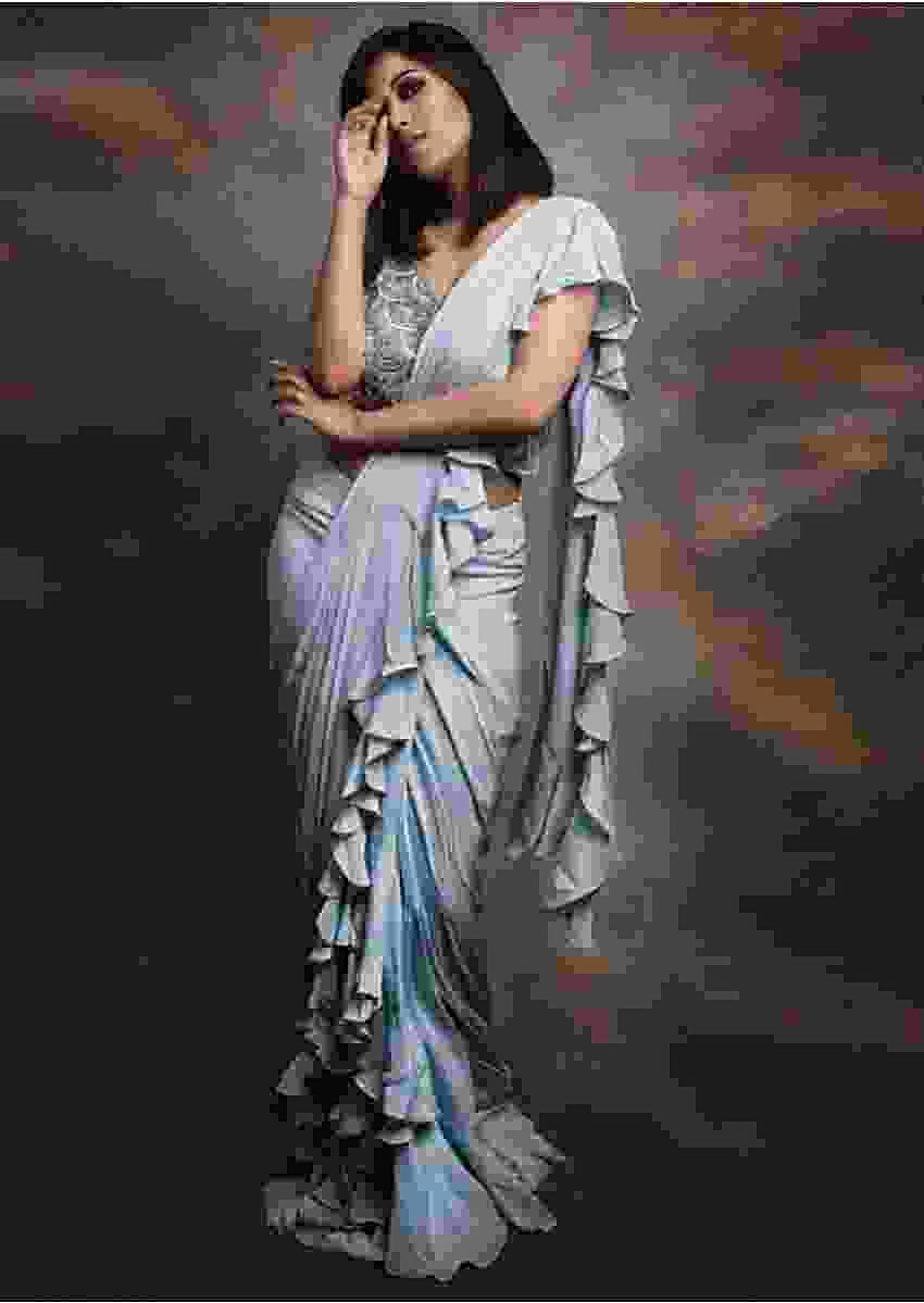 Namrata Ganguly in Kalki Ice blue Ready pleated draped saree with ruffled hem and pallo