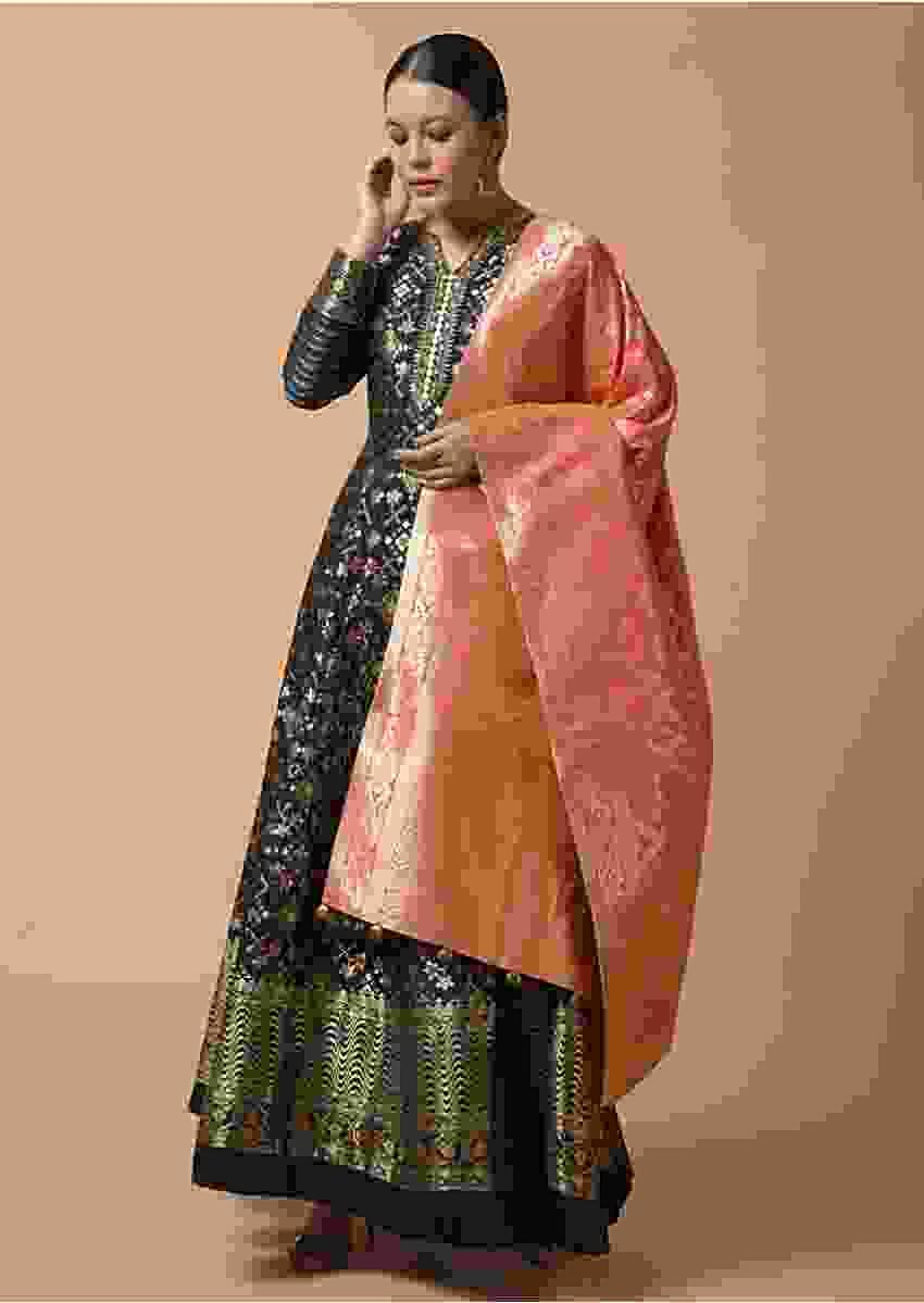 Navy Blue Anarkali Suit In Silk With Woven Patola Design And Two Toned Pink Banarasi Dupatta Online - Kalki Fashion