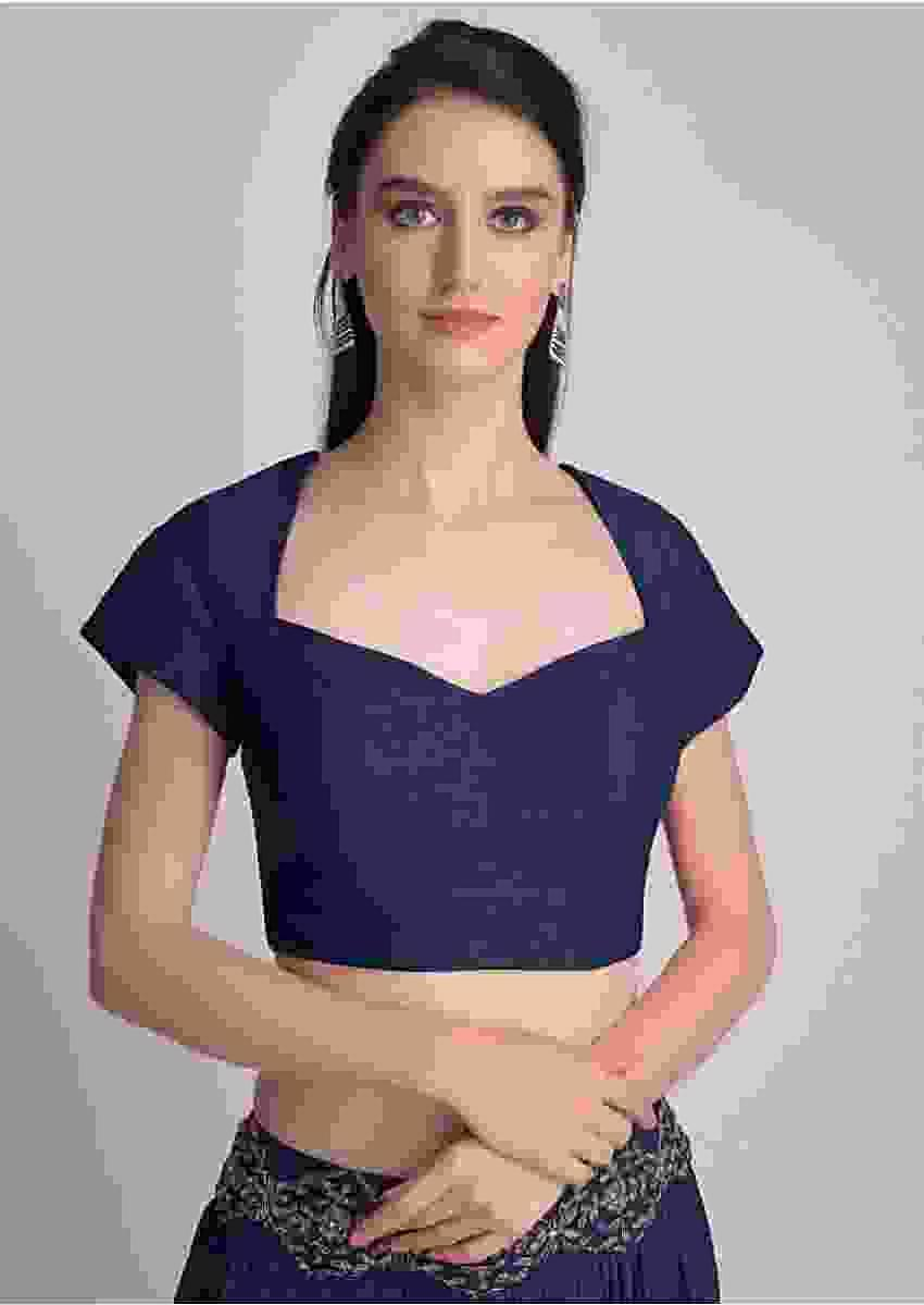 Navy Blue Blouse With Deep Sweet Heart Neck And Cap Sleeves Online - Kalki Fashion