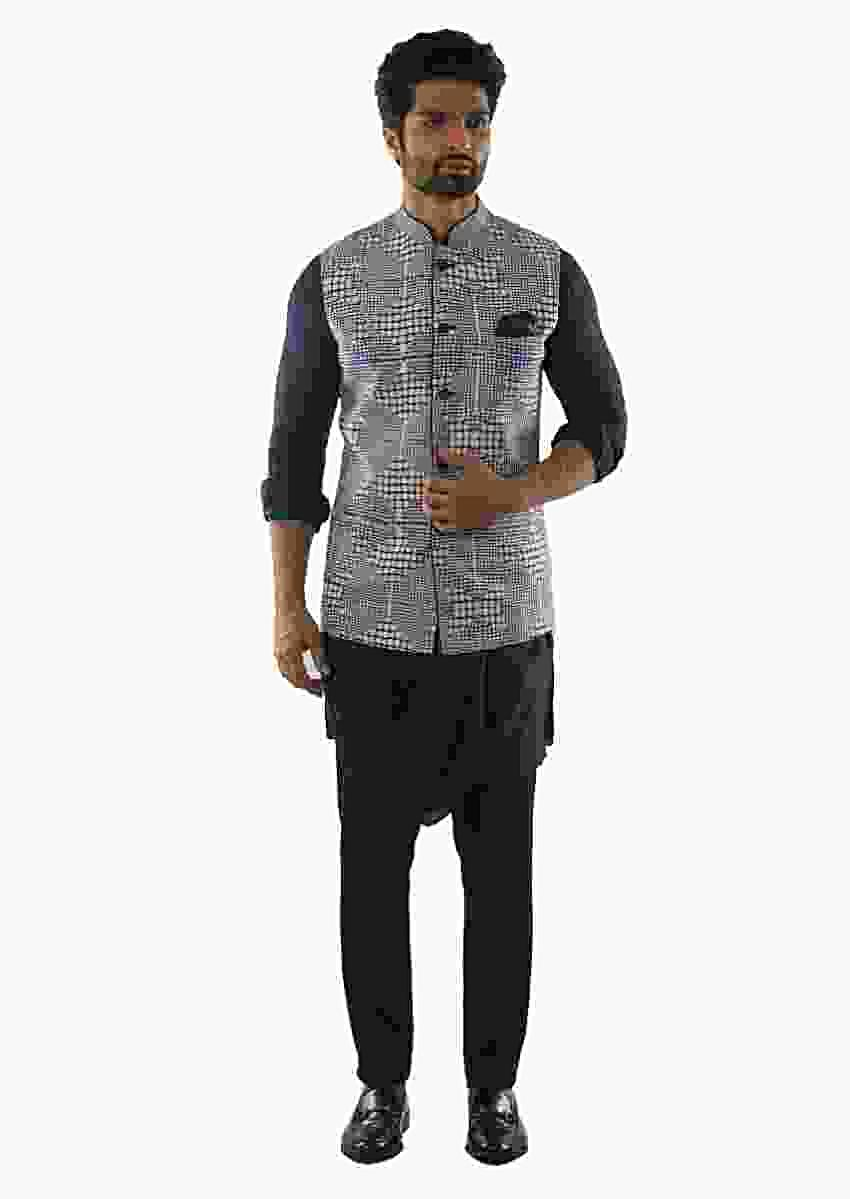 Navy Blue Draped Kurta Paired With A Navy Pant And Checks Printed Jacket Online - Kalki Fashion