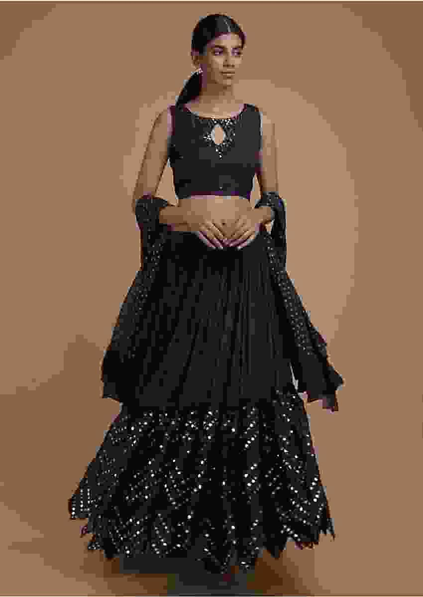 Navy Blue Lehenga Choli With Mirror Abla Embroidery And Zigzag Cut Hem Online - Kalki Fashion