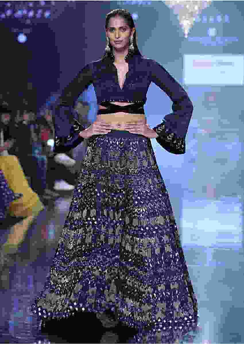 Organic Blue Lehenga In Hand Embellished Milano Satin With Bell Sleeves Blouse Online - Kalki Fashion