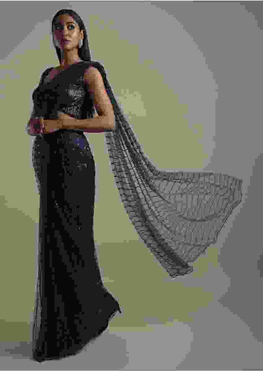 Navy Blue Ready Pleated Saree In Net With Sequins And Beads Embroidered Striped Pattern Online - Kalki Fashion