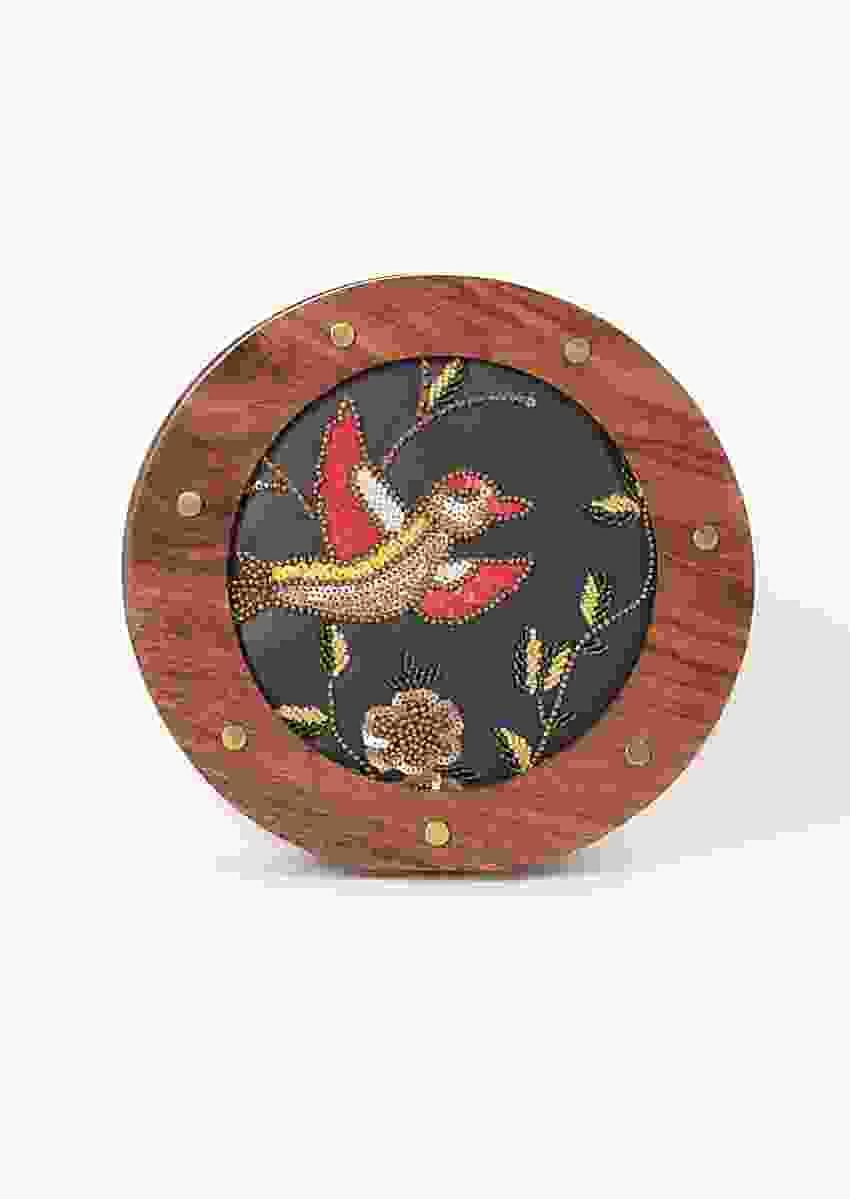 Navy Blue Round Clutch With Vintage Wooden Frame And Embroidery In Bird Motif Online - Kalki Fashion