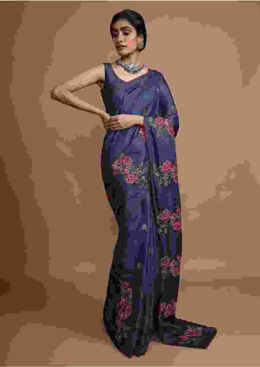 Navy Blue Saree In Silk With Colorful Resham Embroidered Rose Motifs Along The Border Online - Kalki Fashion