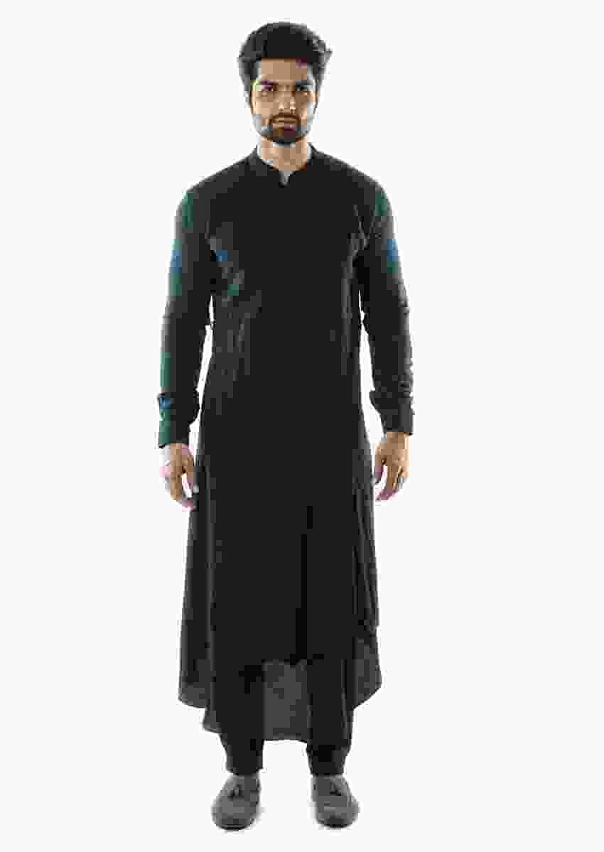 Navy Blue Sufi Style Layered Kurta Paired With Paired With A Navy Pant Pajama Online - Kalki Fashion