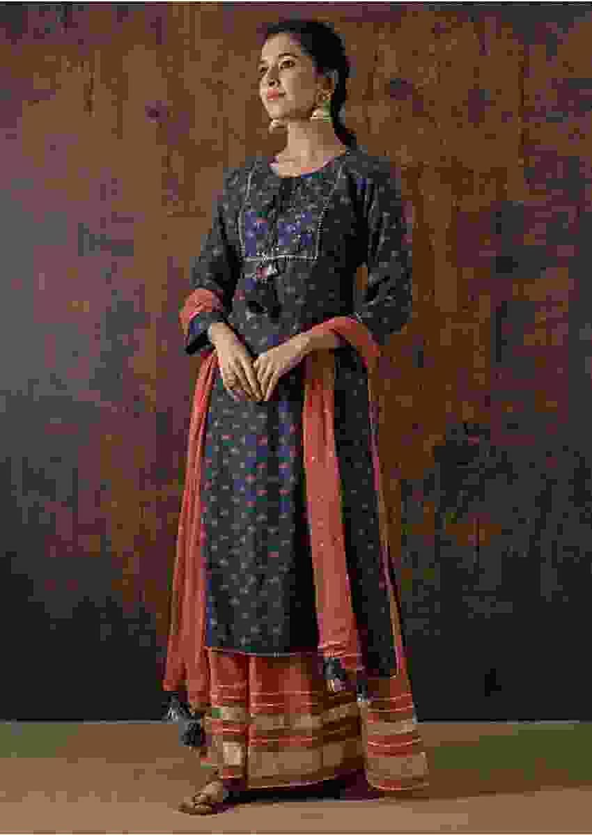 Navy Blue Suit matched with skirt in butti print and gotta lace work Online - Kalki Fashion