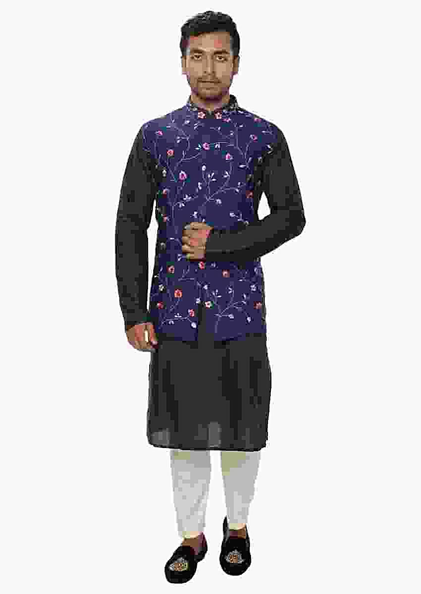 Navy Kurta Paired With A Floral Threadwork Embroidered Jacket Online - Kalki Fashion