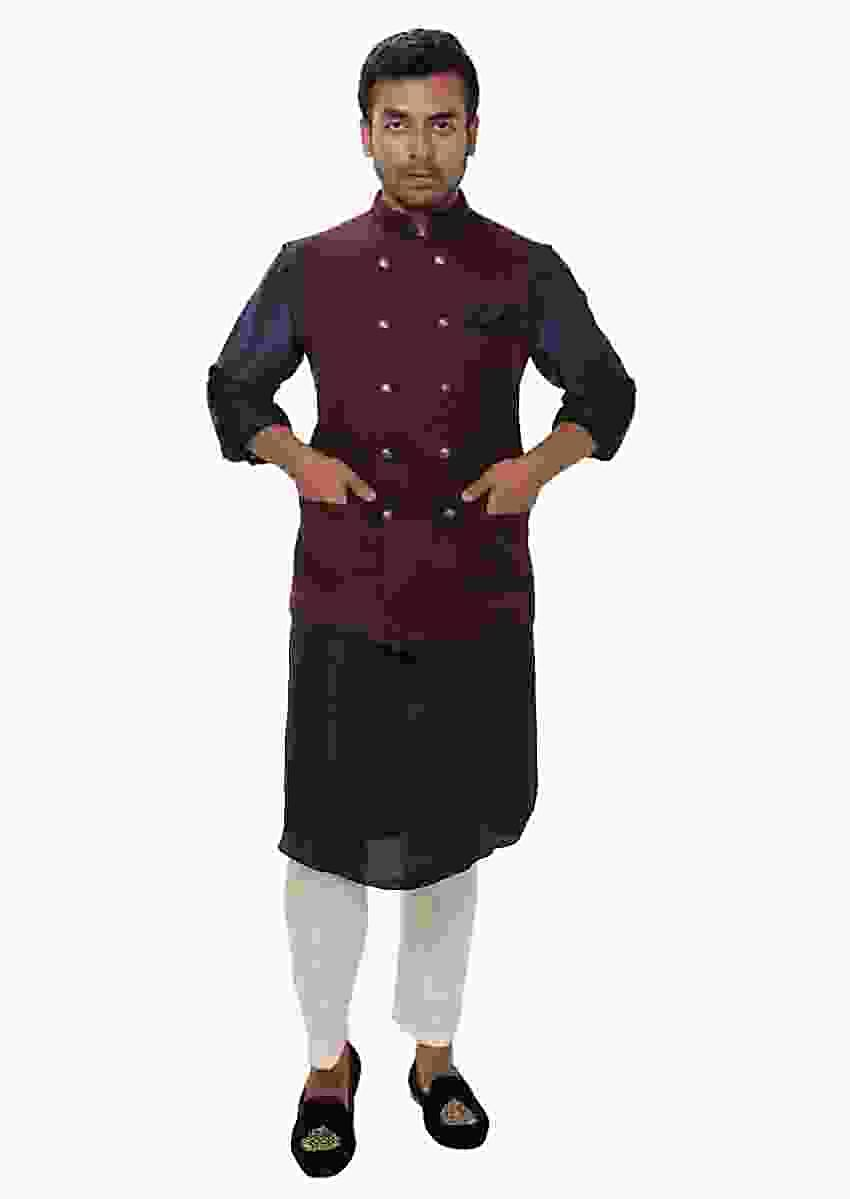 Navy Kurta Set Paired With A Wine Double Breasted Jacket Online - Kalki Fashion