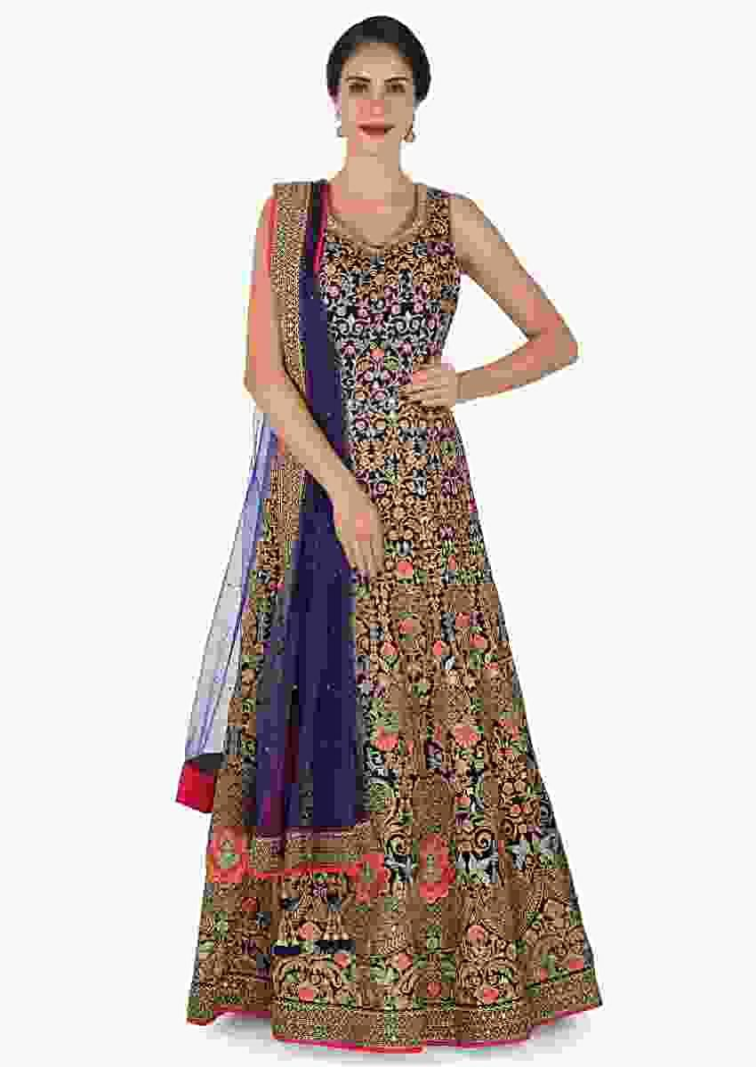 Navy Blue Anarkali Suit Beautifully Designed Using The Resham And Zari Embroidery Work Online - Kalki Fashion