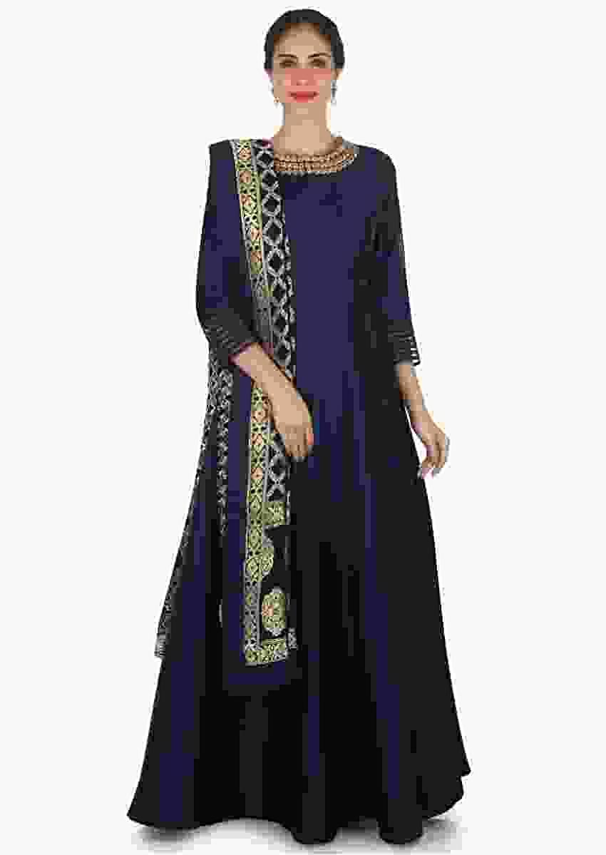 Navy Blue Anarkali Suit In Silk With A Banarasi Brocade Dupatta Adorned In Cutdana And Kundan Work Online - Kalki Fashion